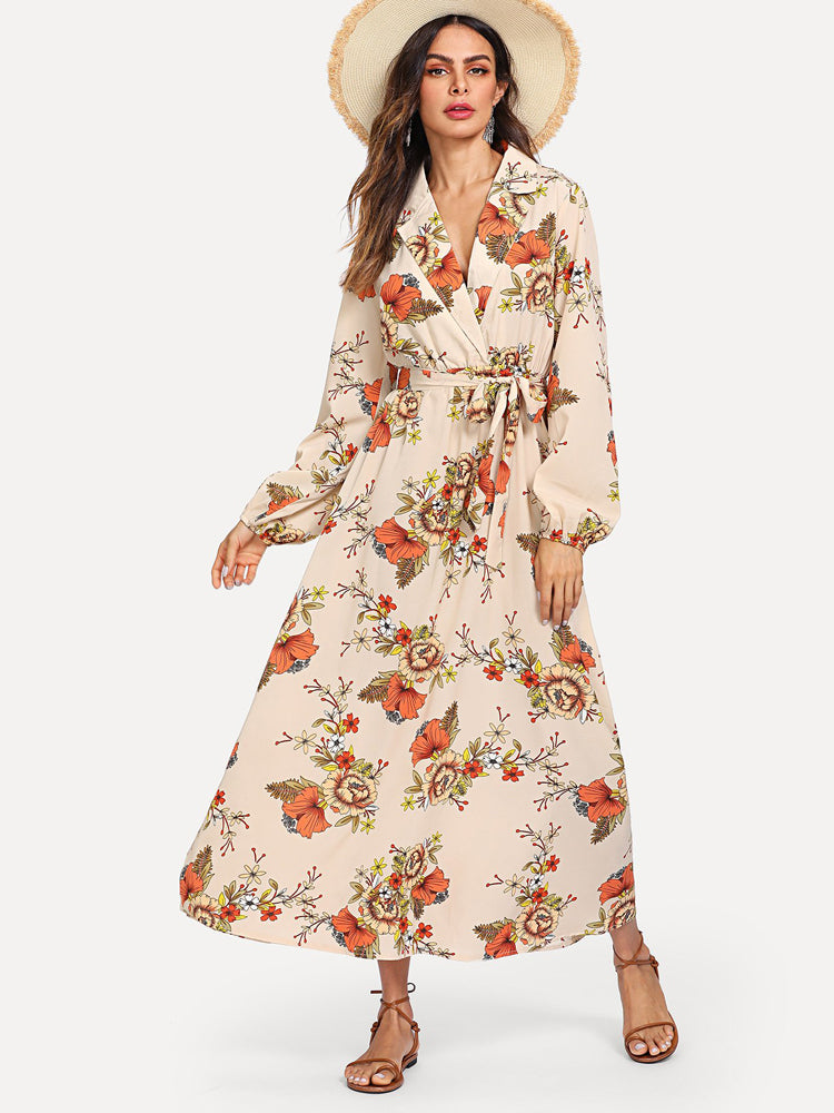 Long Dresses Lantern Sleeve Wrap Floral Dress