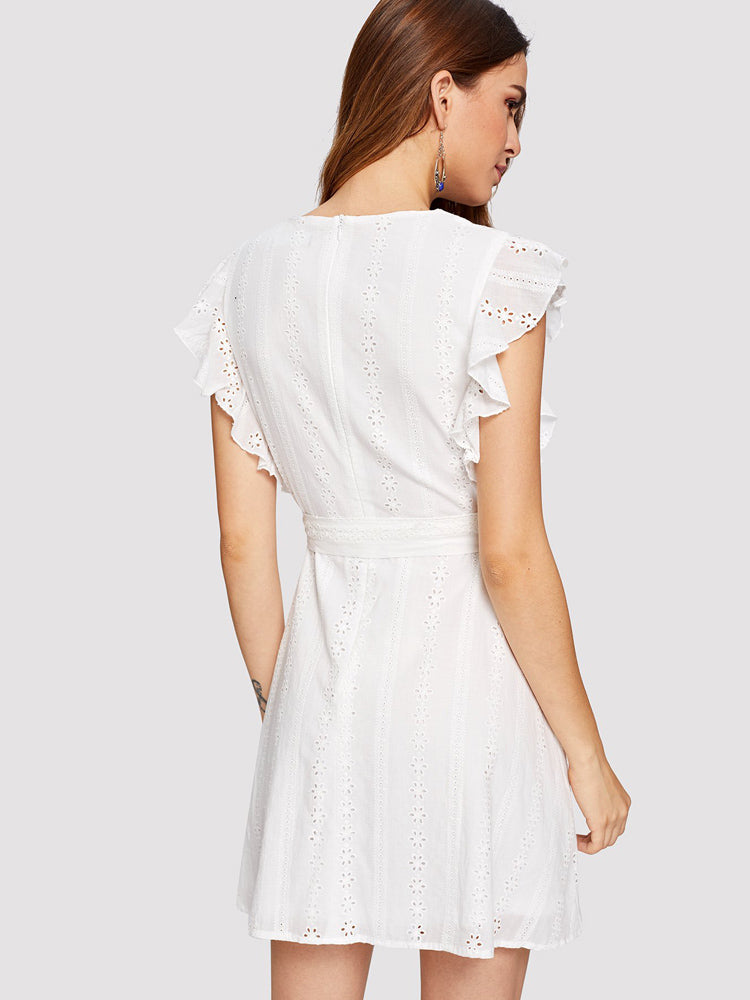 Elegant Ruffle Trim Eyelet Embroidered Wrap Skater Dress