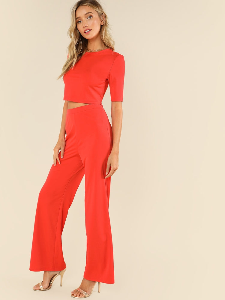Elegant women's crop plain top & wide leg pants