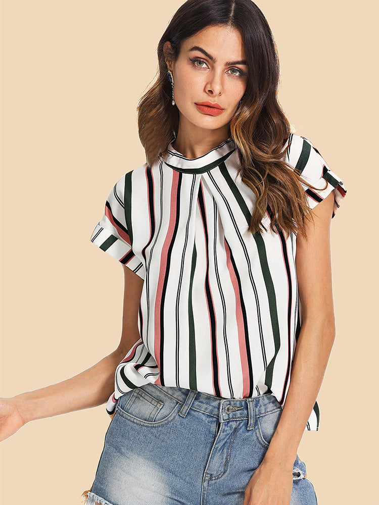 Fashion women' clothing Fold Pleat Front Striped Top