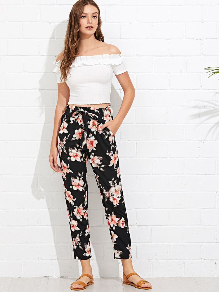 Fashion women's drawstring belt waist floral tapered pants