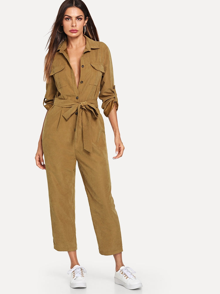 Fashion women's roll sleeve belted jumpsuit