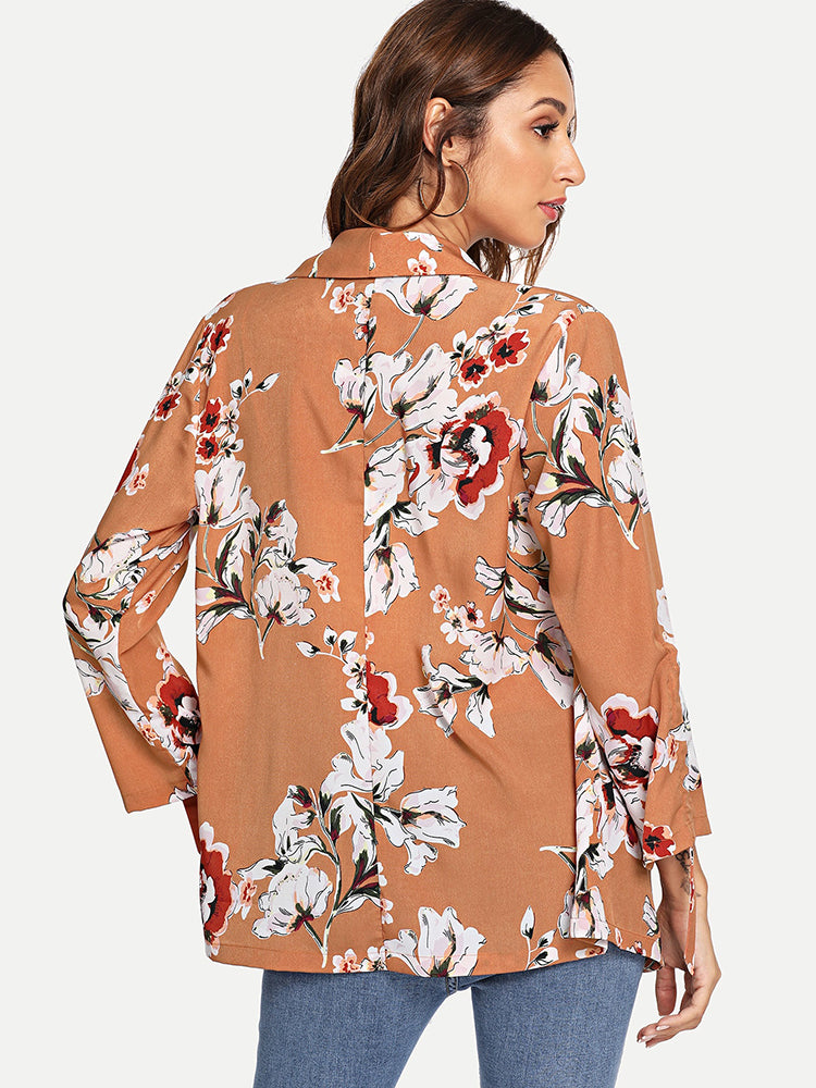 Fashion women' Drawstring Sleeve Floral Print Blazer