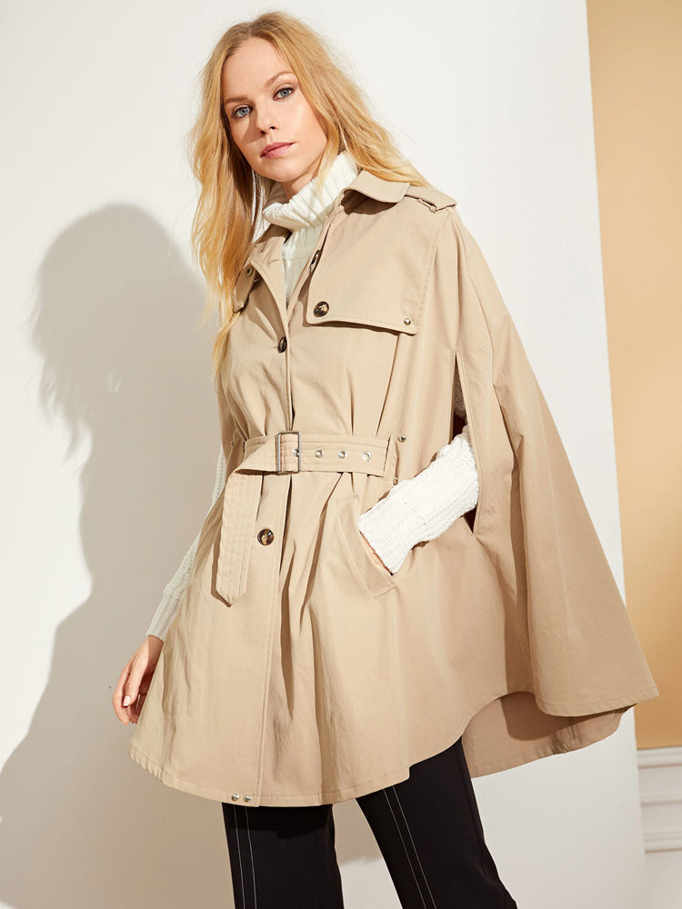 Trendy Button Belted Coat