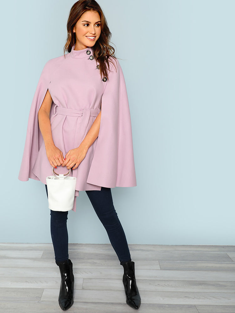 Women's Clothes Button Front Self Belted Cape Coat