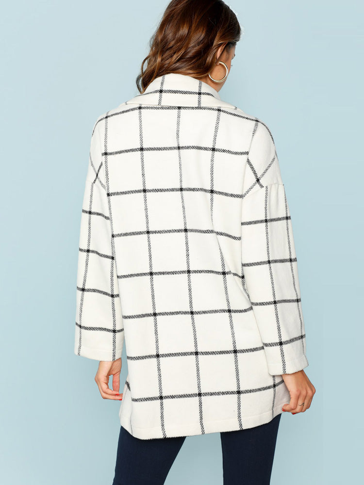 Elegant women Single Button Plaid Coat