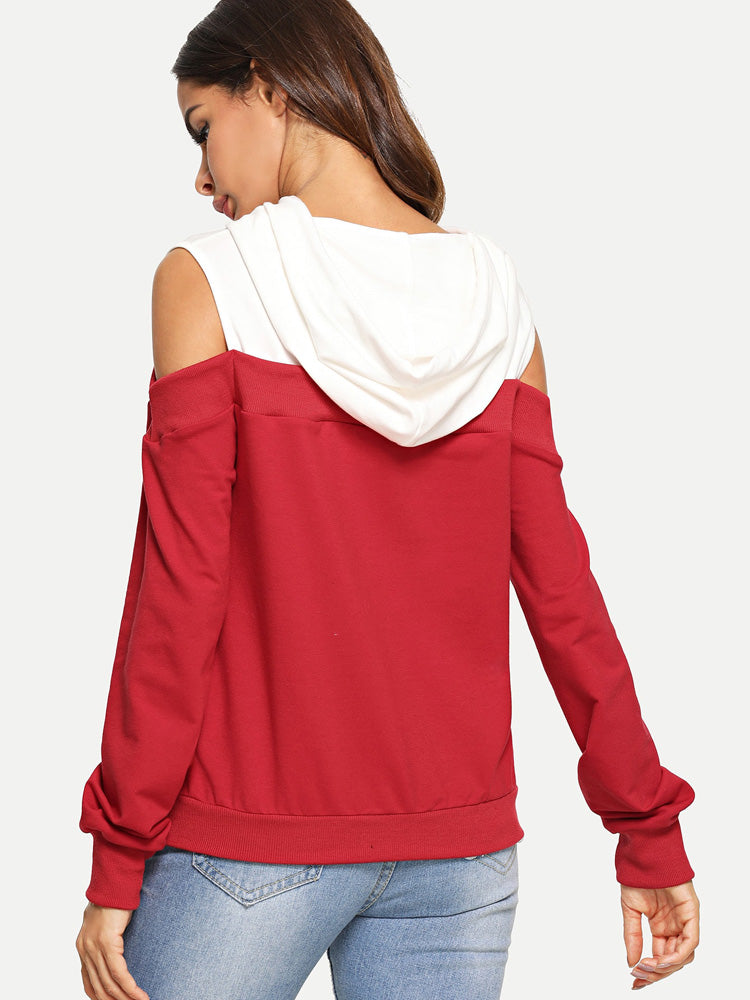 Fashion women'  Shoulder drawstring hoodie