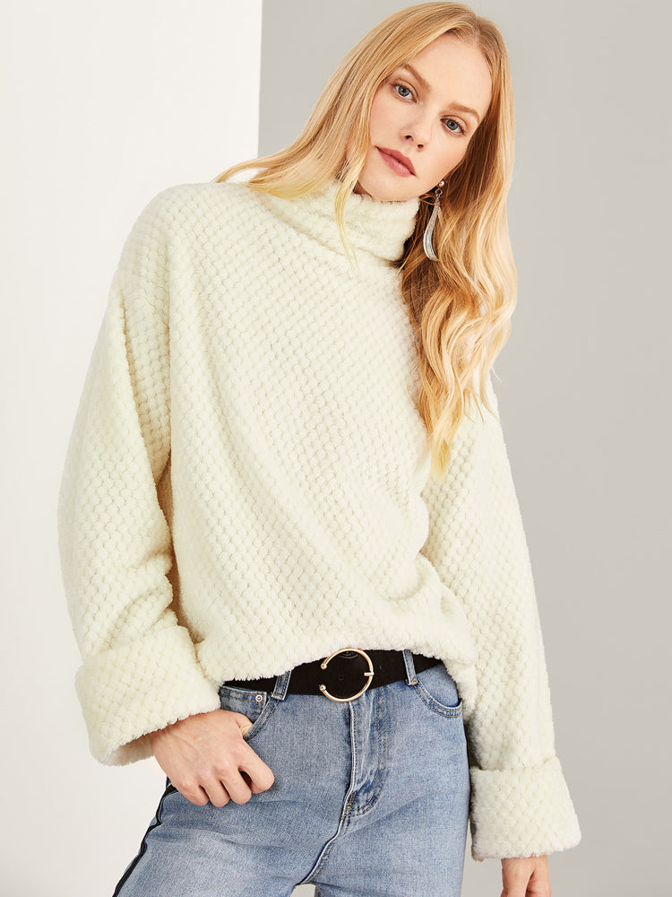 Fashion Women'S Stand Neck Soft Sweatshirt