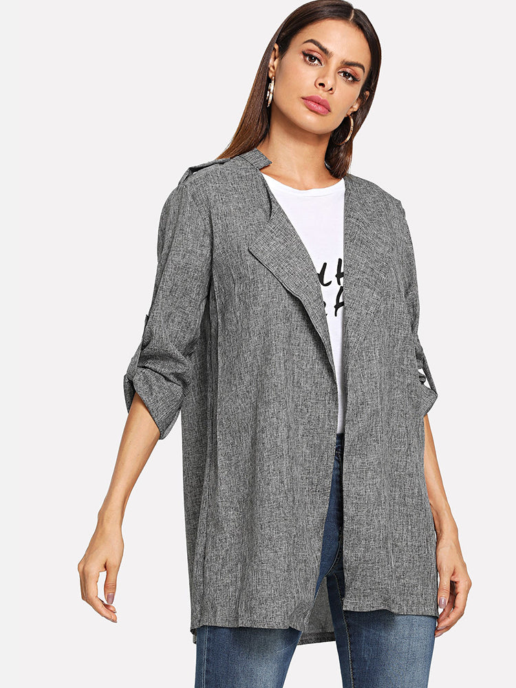 Women's Clothes Pleated Back Lapel Marley Coat