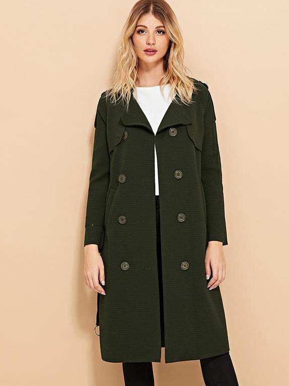 Trendy Button Decoration Solid Coat