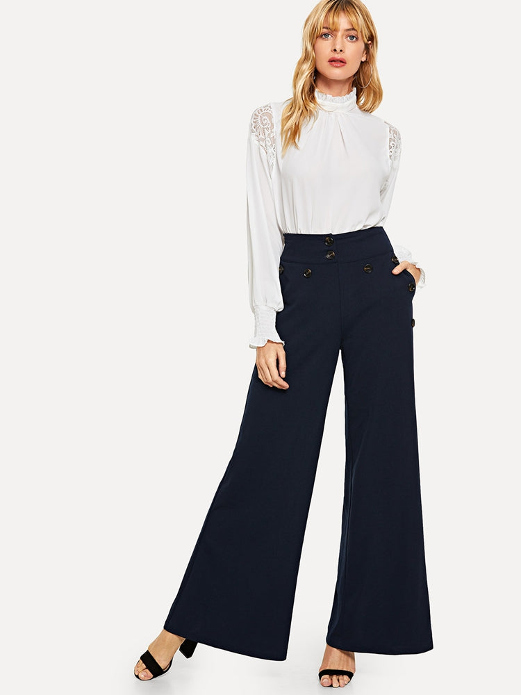 5a2c1d756cef Fashion women s button detail slant pocket wide leg pants