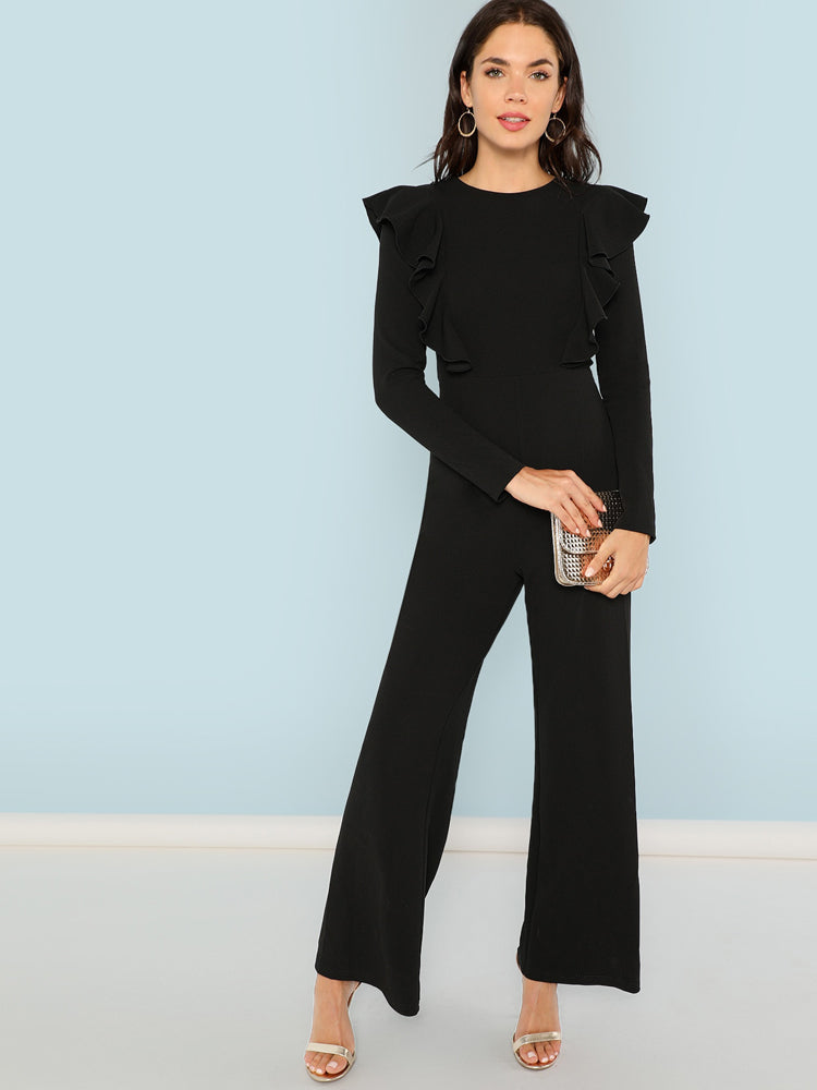 Fashion Women'S Ruffle Trim Palazzo Jumpsuit