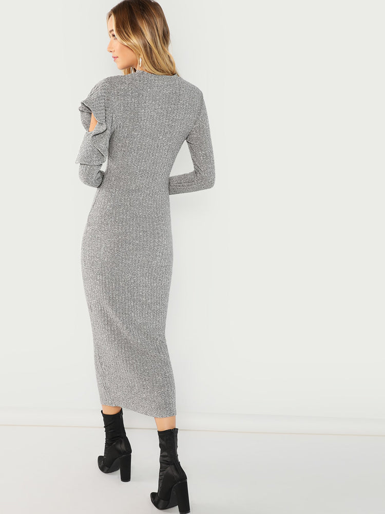 Fashion Women'S Ruffle Detail Sweater Dress
