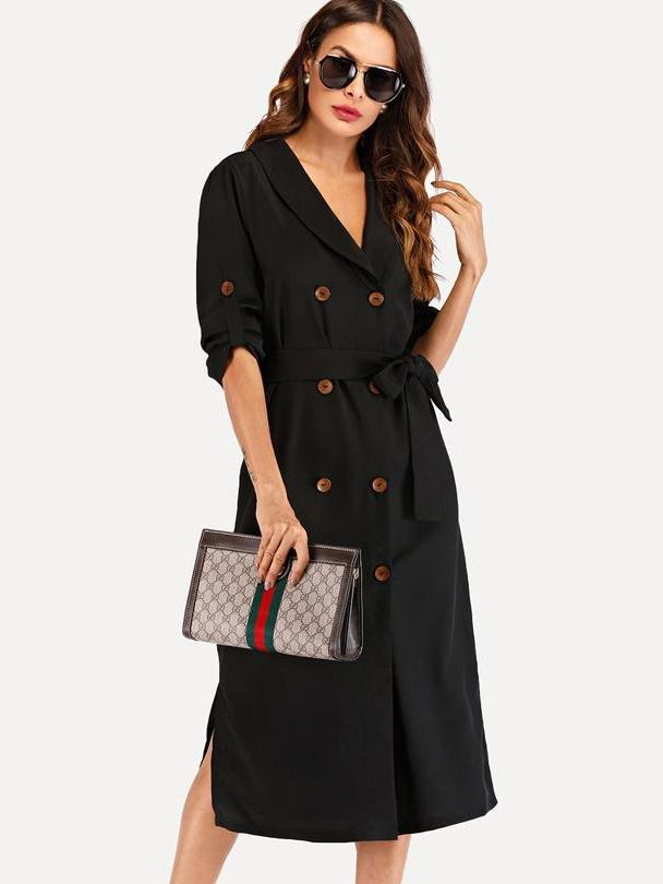 Fashion Women'S Double Button Outerwear Trench Coat