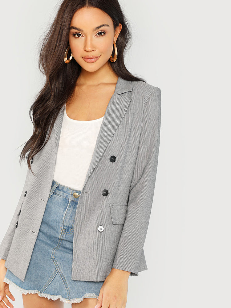 Trendy Notched Collar Double Button Coat