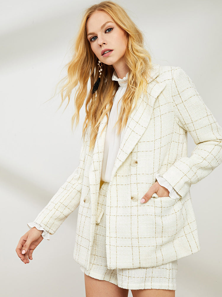 Trendy  Notched Neck Plaid Blazers
