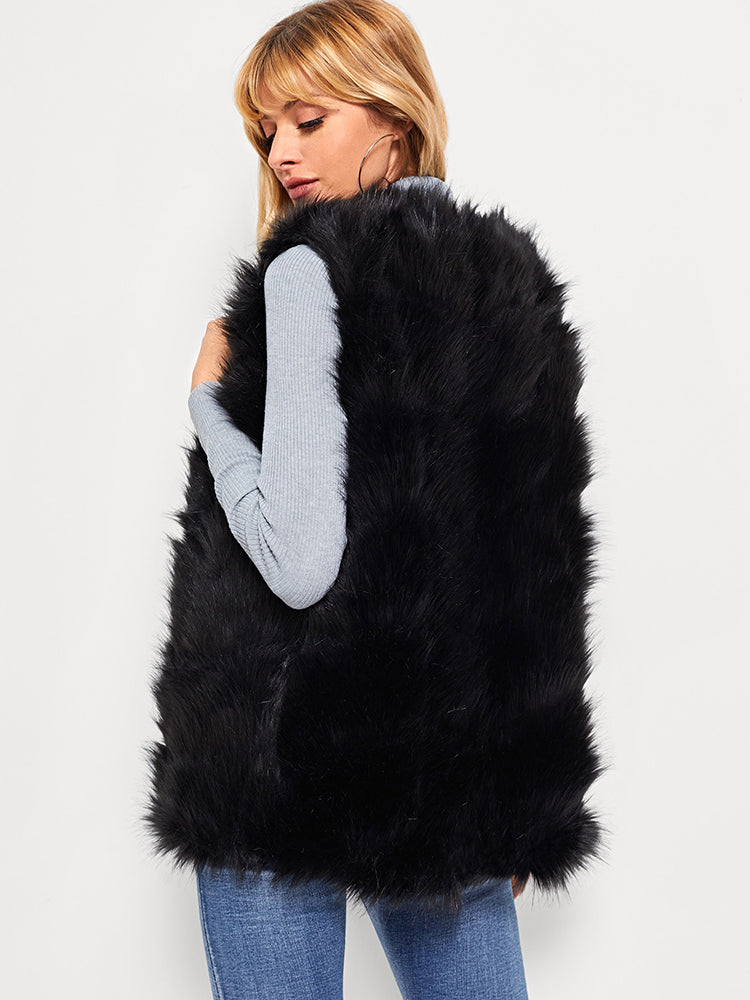 Elegant Women's Open Front Faux Fur Shell Coat