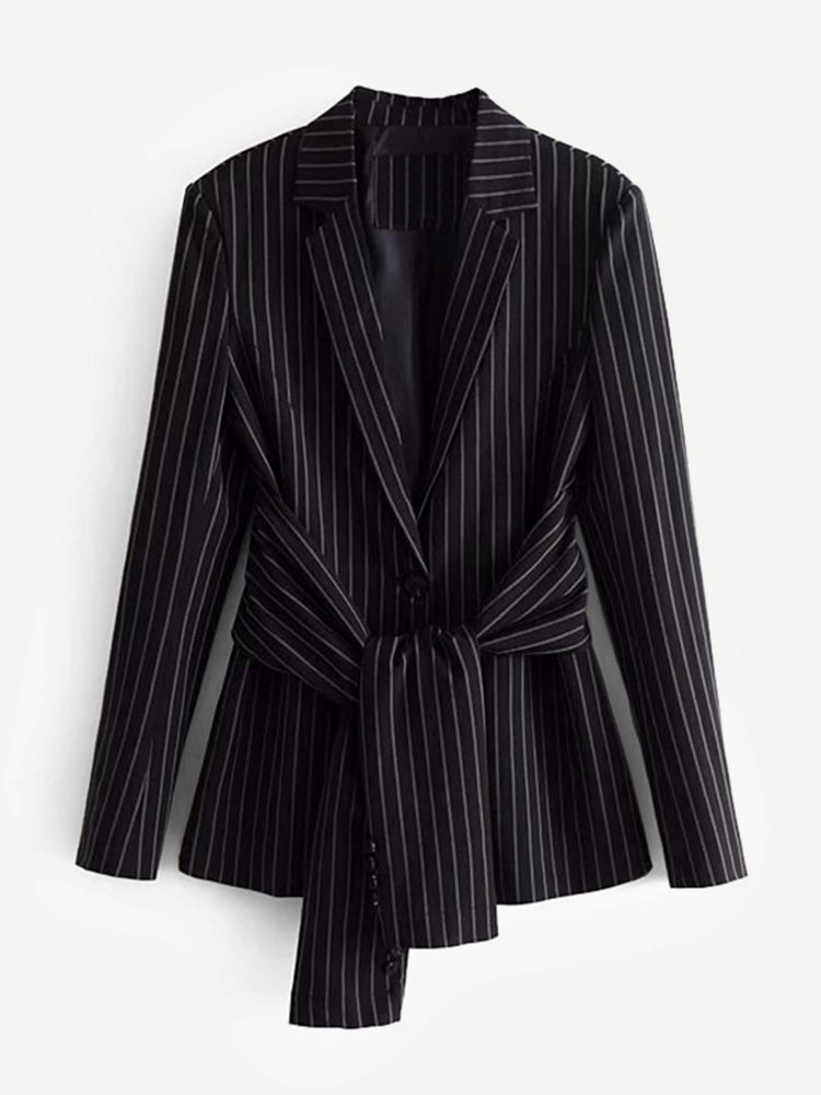 Trendy Knot Front Pinstripe Blazers