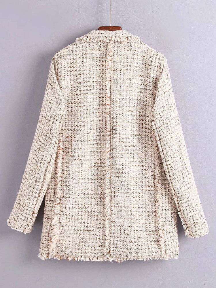 Trendy Fringe Edge Tweed Coat