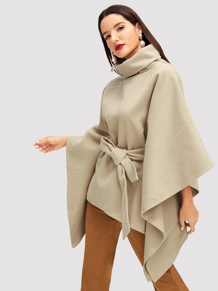 Fashion women's turtleneck belted poncho coat