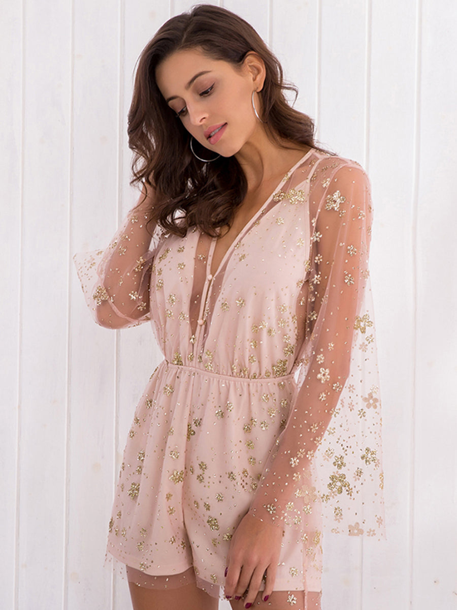 Fashion Pink Deep-V neck Print Eugenia Sleeve Jumpsuit