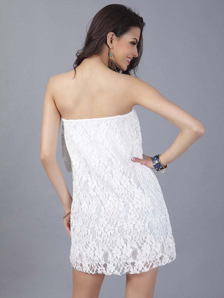 White A Line Lace Party Dress Sexy Mini Dresses