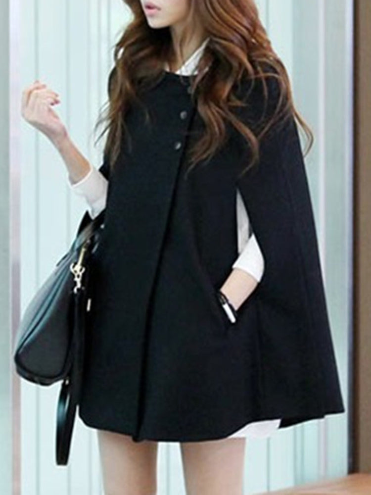 Elegant Plain Cape coat
