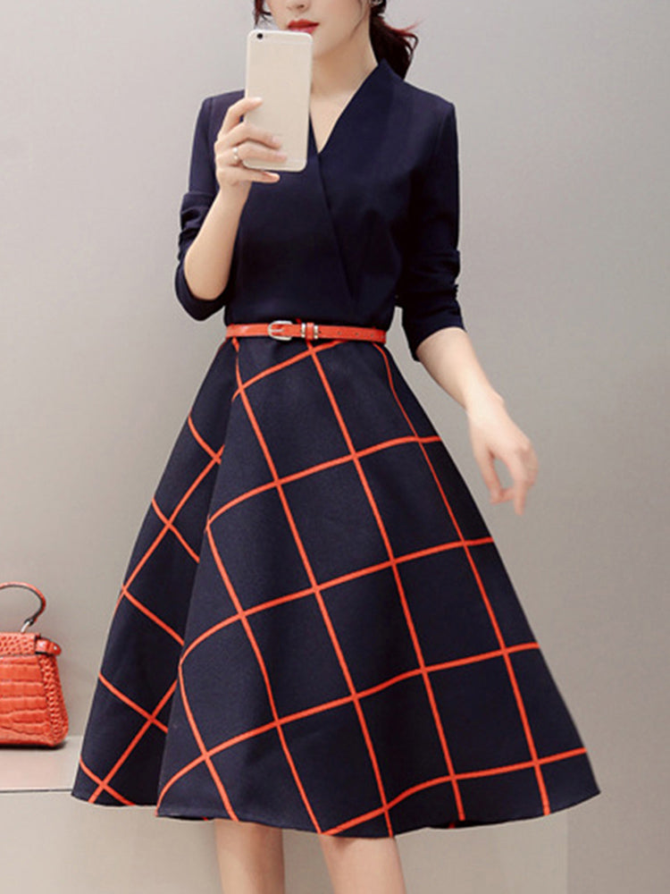 V-neck slim long-sleeved plaid A-line dress