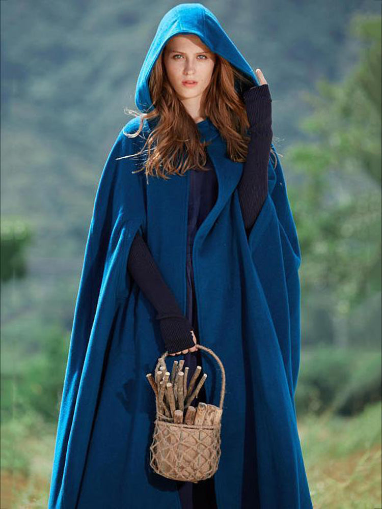 Bohemian Solid Color Woolen Hooded Cloak Coat - sparshine