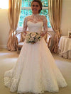 Lace long sleeve perspective wedding formal dress
