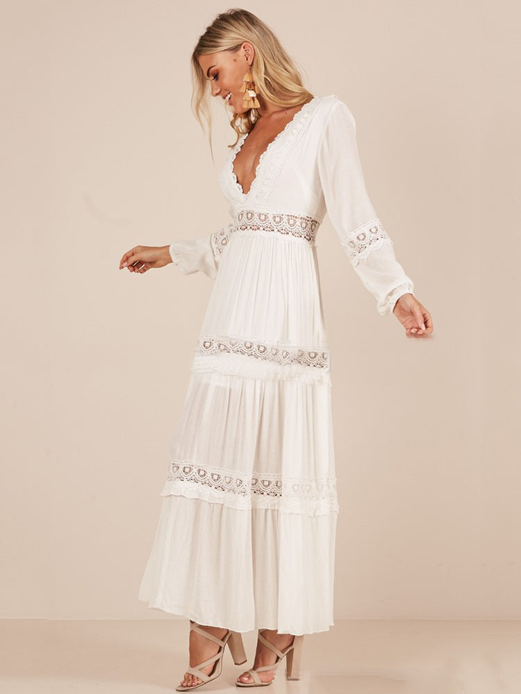 Bohemian V-neck Lace Stitching Dress - sparshine