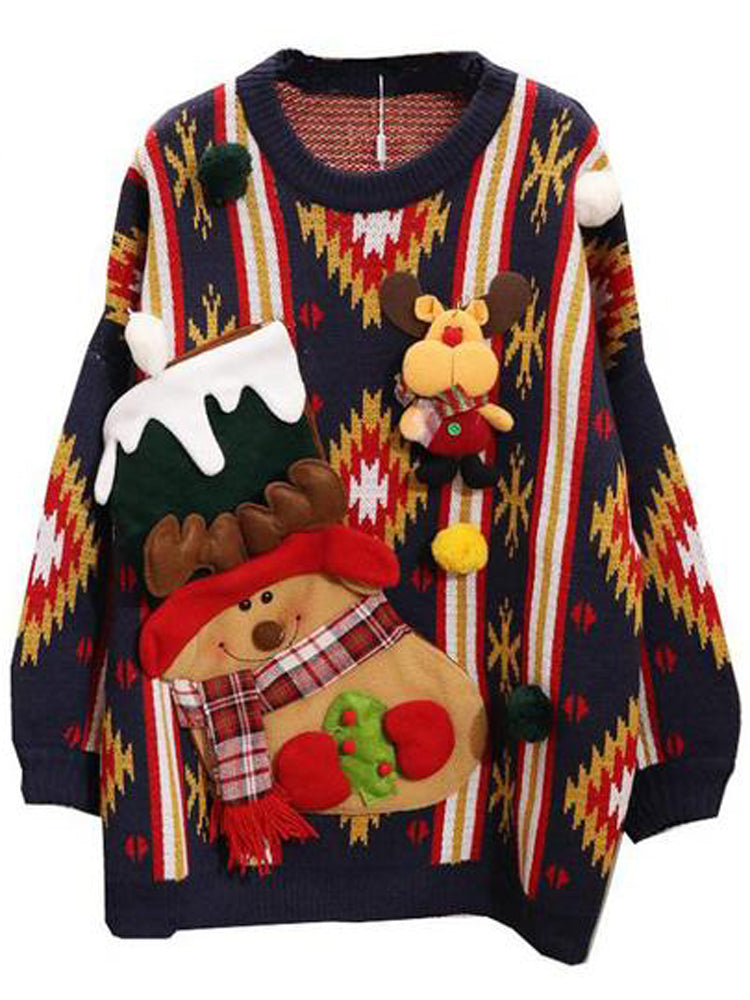 Christmas Cartoon Loose Knit Pullover High Quality Sweater