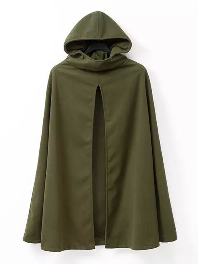 Solid Color Hooded Cardigan Cape