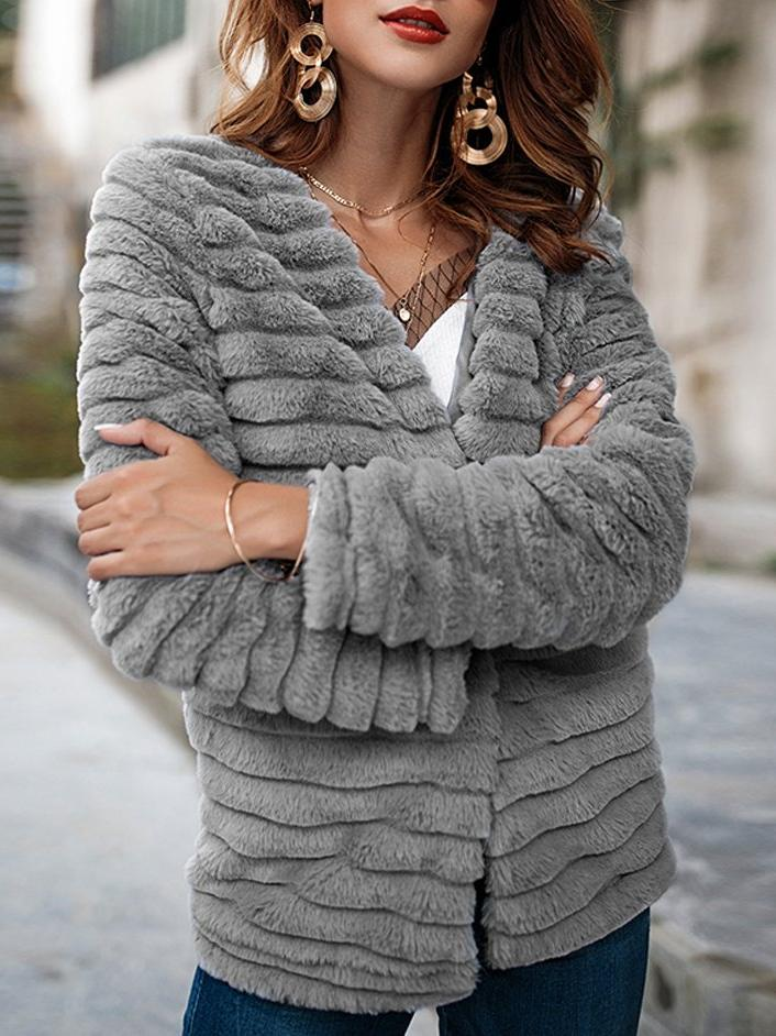Solid Color Fur Long Sleeve Coat