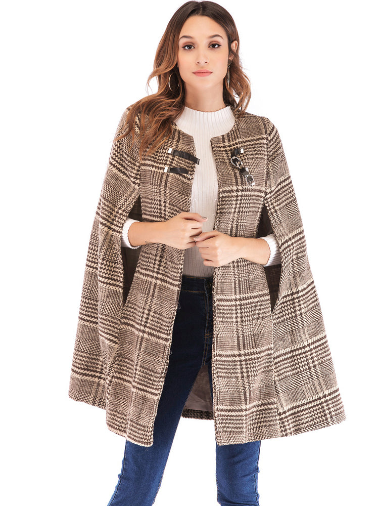 Plaid tweed leather buckle cape