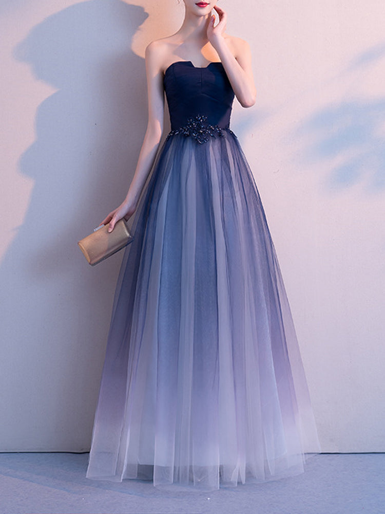 Gradient color tube top elegant party formal dress