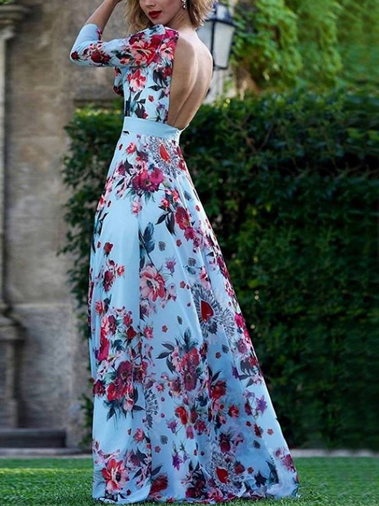 Irregular Ink Print Maxi Dress
