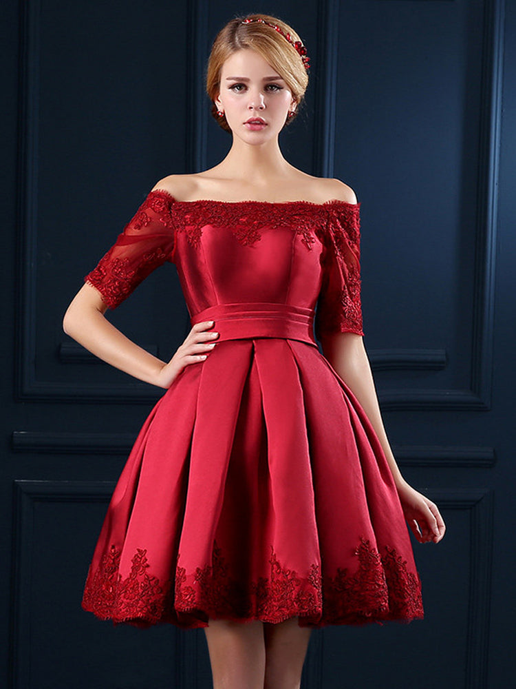 Elegant women Embroidery Lace Evening Formal Dress