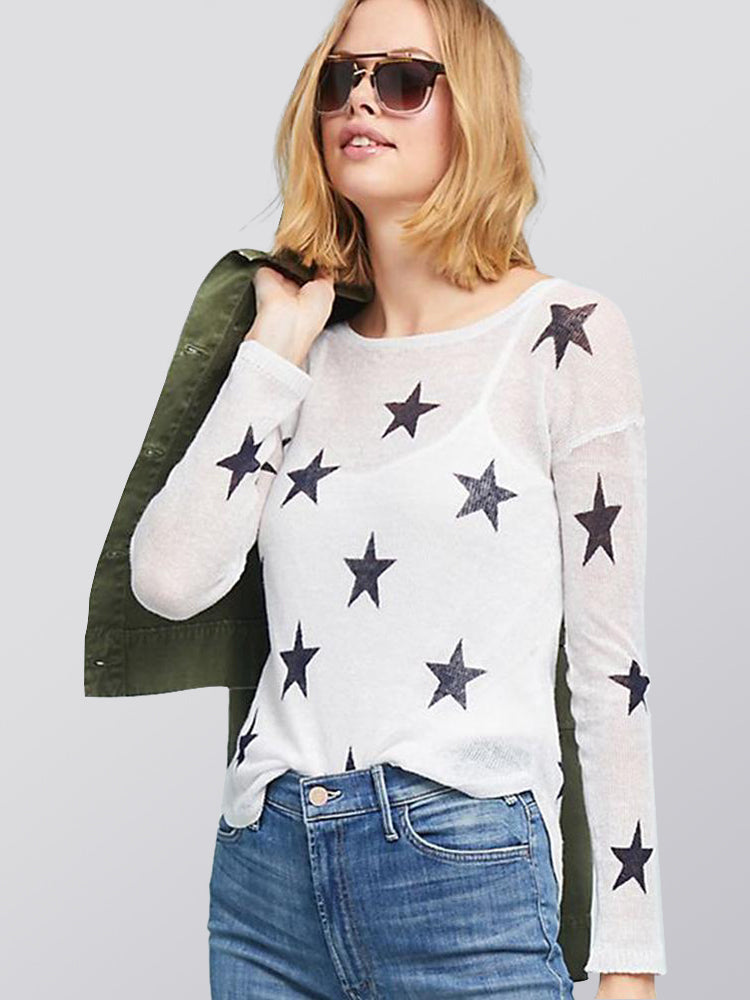 Printed Slim Sweater Knit Perspective Bottoming Shirt