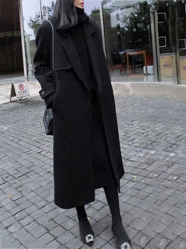 Black Single Breasted With Belt Trench Coat