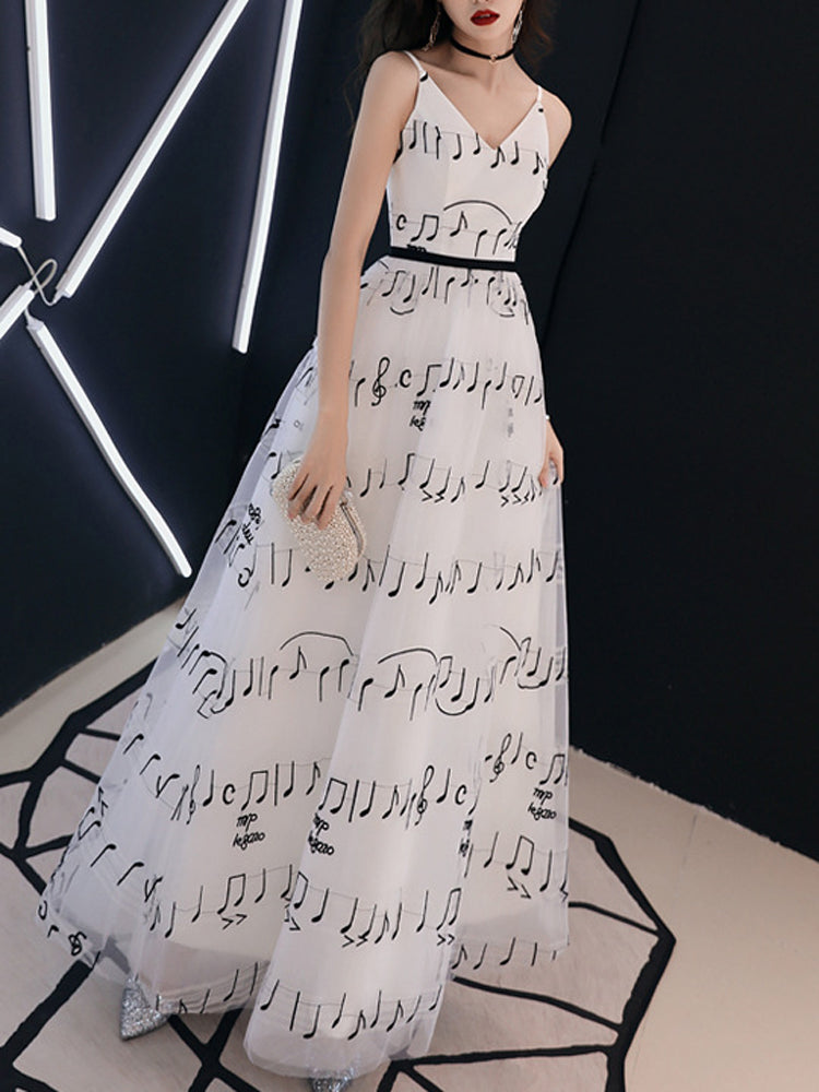 Sling V-neck note pattern formal dress