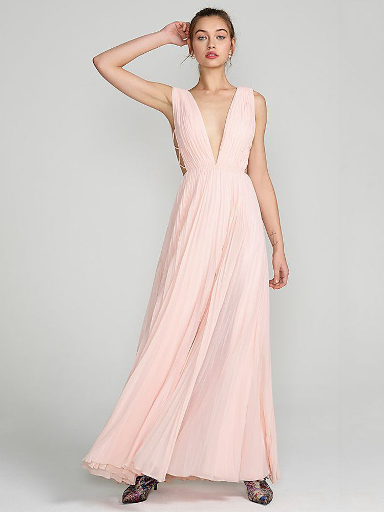 Pink Deep V Open Back Long formal Dress