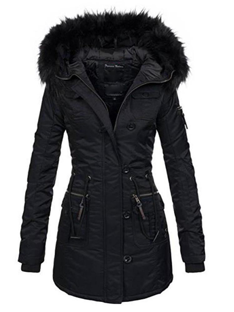 With Hooded Zipper With Pocket Overcoat