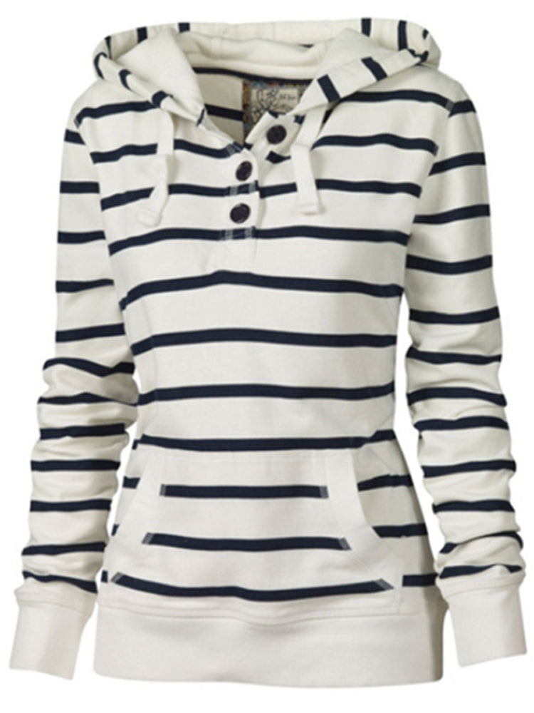 Buttoned Striped Long Sleeve Hoodie