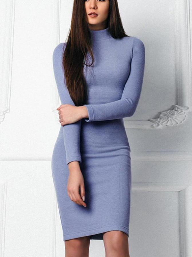 Blue turtleneck knit bodycon dress