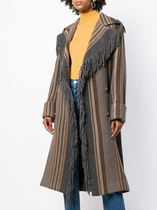 Autumn And Winter Tassel lapel striped Coats - sparshine