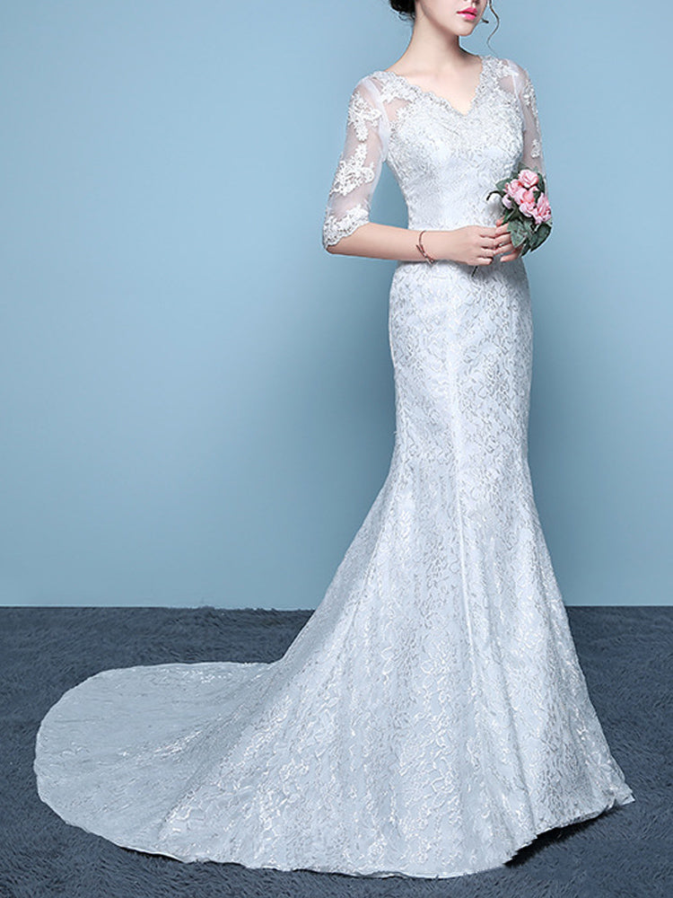 Slim White  fishtail trailing wedding formal dress