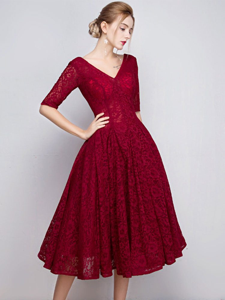 Sexy Lace V-neck mid-sleeve A-line dress