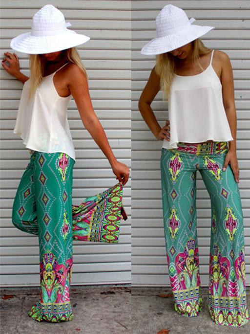 Pretty Green Floral Printed Wide Leg Long Pants