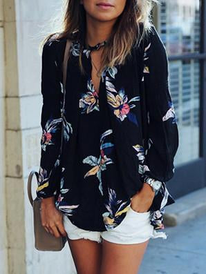 Fashion Long Sleeves V-neck Tops Floral-Printed Blouse - sparshine
